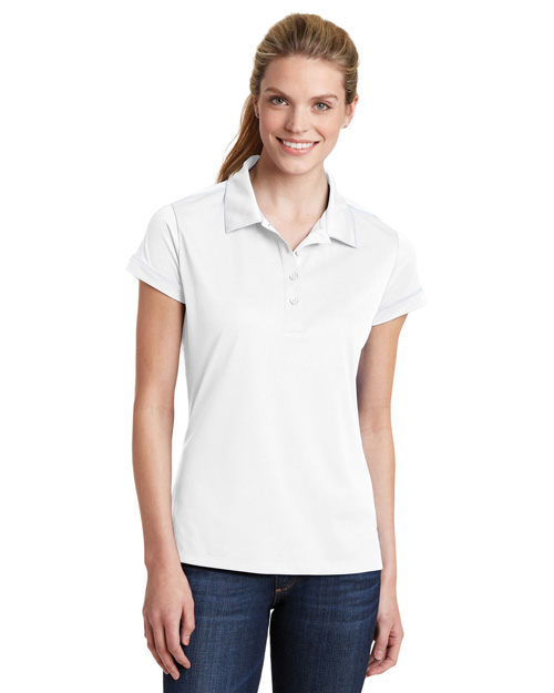 Sport-Tek LST659 Ladies Contrast Stitch Micropique Sport-WickPolo.  White at bigntallapparel