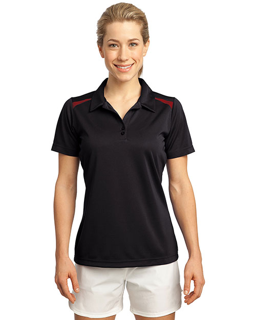 Sport-Tek LST670 Women Vector Sport-Wick Polo Black/True Red at bigntallapparel