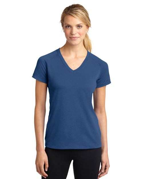 Sport-Tek LST700 Ladies Ultimate Performance V-Neck.  Dark Denim at bigntallapparel