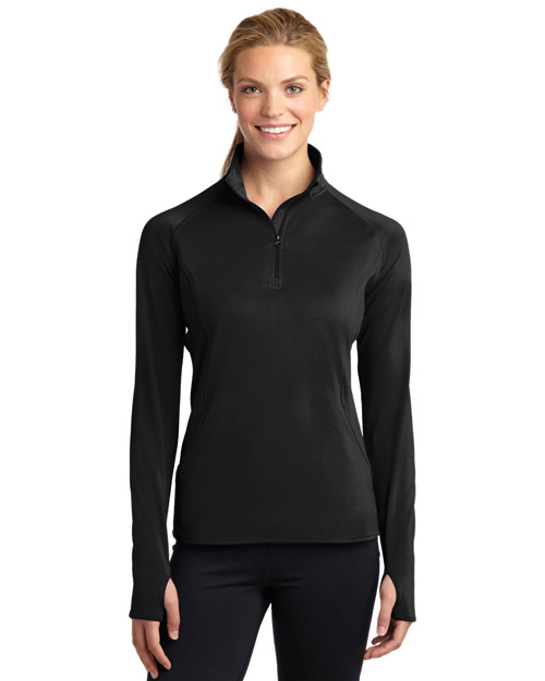 Sport-Tek LST850 Ladies Sport-Wick Stretch 1/2-Zip Pullover.  Black at bigntallapparel