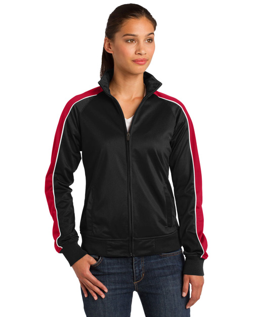 Sport-Tek LST92 Women Piped Tricot Track Jacket Blk/Tr Red/Wht at bigntallapparel