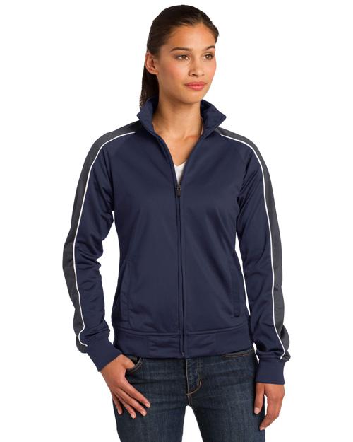 Sport-Tek LST92 ® Ladies Piped Tricot Track Jacket.  Tr Nvy/Grey/Wh at bigntallapparel