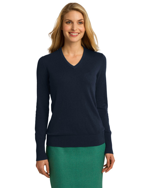 Port Authority LSW285 ® Ladies V-Neck Sweater.  Navy at bigntallapparel