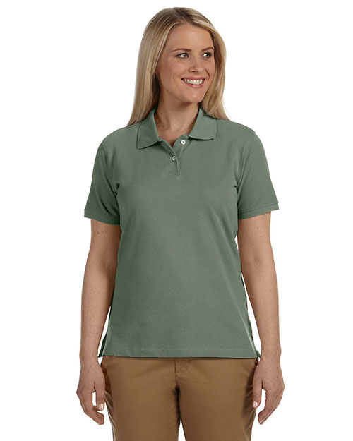 Harriton M100W Ladies' 6.5 oz. Ringspun Cotton Piqué Short-Sleeve Polo DILL at bigntallapparel