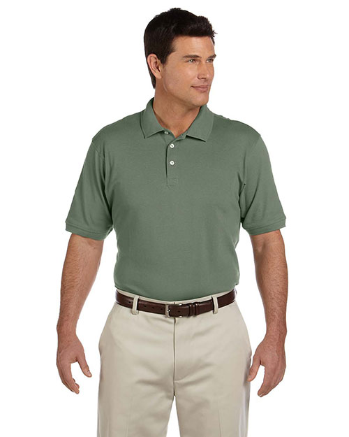 Harriton M100 Men 6.5 Oz Ringspun Cotton Pique Short Sleeve Polo Dill at bigntallapparel