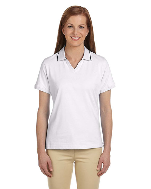 Harriton M140W Ladies' 5.9 oz. Cotton Jersey Short-Sleeve Polo with Tipping WHITE/NAVY at bigntallapparel