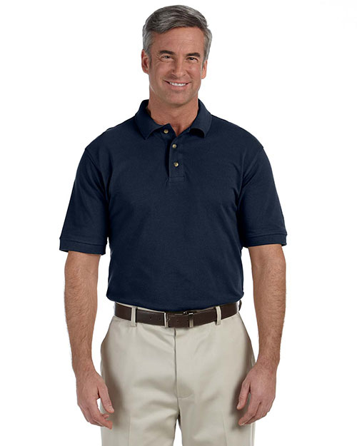 Harriton M200T Tall 6 oz. Ringspun Cotton Piqué Short-Sleeve Polo NAVY at bigntallapparel
