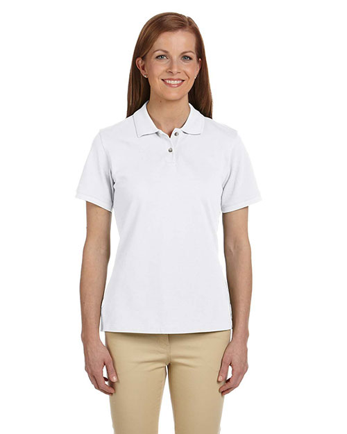Harriton M200W Ladies' 6 oz. Ringspun Cotton Piqué Short-Sleeve Polo WHITE at bigntallapparel