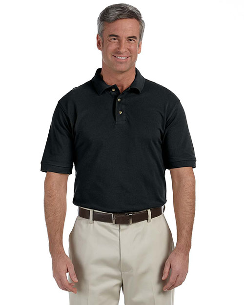 Harriton M200 Men 6 Oz Ringspun Cotton Pique Short Sleeve Polo Black at bigntallapparel
