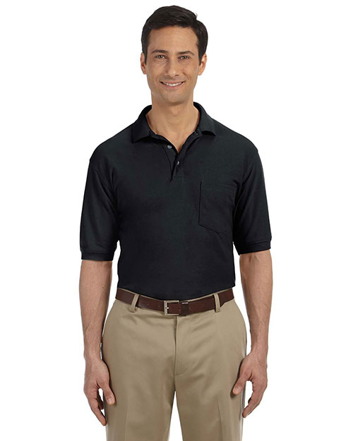 Harriton M265P Mens 5 Oz Easy Blend Polo with Pocket Black at bigntallapparel