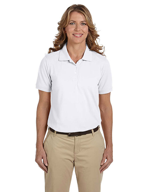 Harriton M265W Ladies' 5.6 oz. Easy Blend Polo WHITE at bigntallapparel