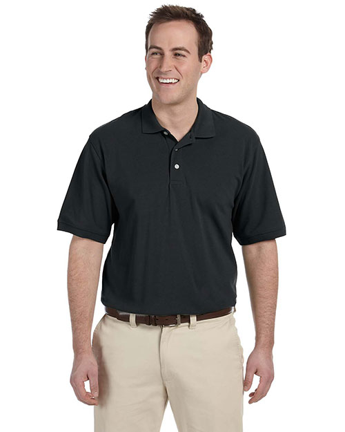 Harriton M265 Mens 5 Oz Easy Blend Polo Black at bigntallapparel