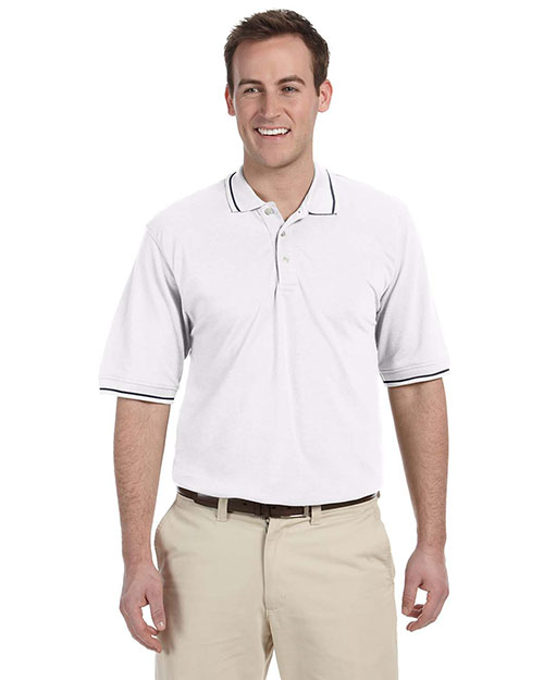 Harriton M270 5.6 oz. Tipped Easy Blend Polo WHITE/NAVY at bigntallapparel