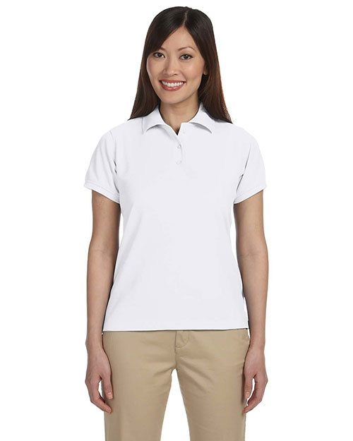 Harriton M280W Women 5 Oz. Blend-Tek Polo White at bigntallapparel