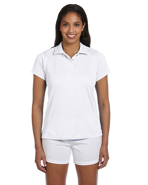 Harriton M315W Ladies' 4 oz. Polytech Polo WHITE at bigntallapparel