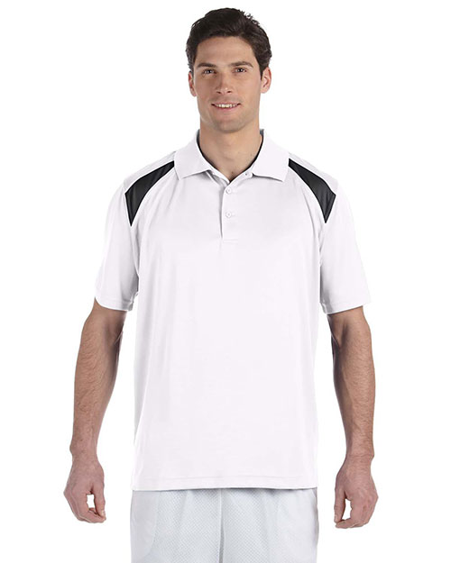 Harriton M318 Men  4 Oz. Polytech Colorblock Polo White/Black at bigntallapparel