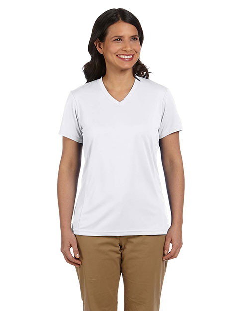 Harriton M320W Ladies' 4.2 oz. Athletic Sport T-Shirt WHITE at bigntallapparel
