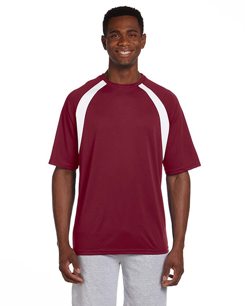 Harriton M322 4.2 oz. Athletic Sport Color Block T-Shirt MAROON/WHITE at bigntallapparel