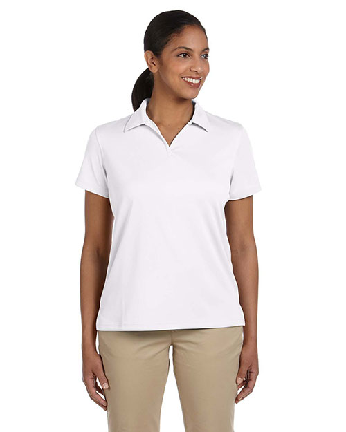 Harriton M353W Ladies' Double Mesh Sport Shirt WHITE at bigntallapparel
