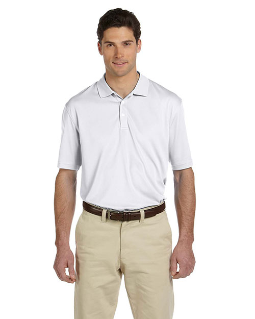 Harriton M353 Men's Double Mesh Sport Shirt WHITE at bigntallapparel
