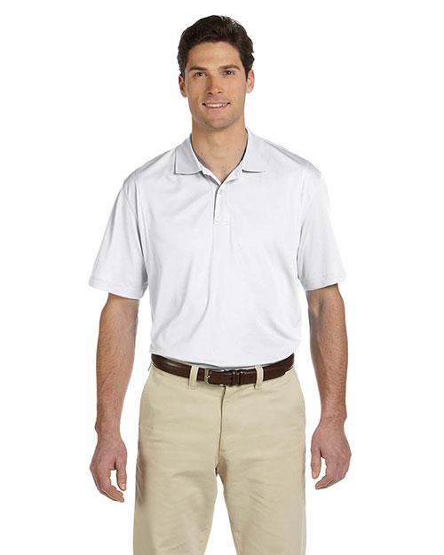 Harriton M354 Men's Micro-Piqué Polo WHITE at bigntallapparel