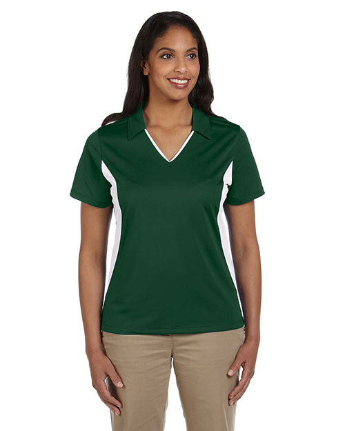 Harriton M355W Ladies' Side Blocked Micro-Piqué Polo DARK GREEN/WHITE at bigntallapparel