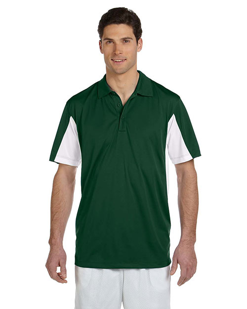 Harriton M355 Men's Side Blocked Micro-Piqué Polo DARK GREEN/WHITE at bigntallapparel