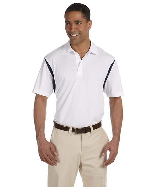 Harriton M356 Men's Back Blocked Micro-Piqué Polo WHITE/NAVY at bigntallapparel