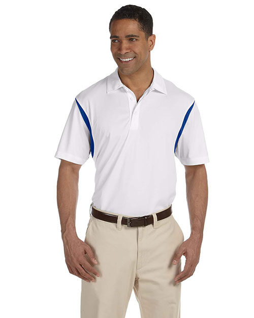 Harriton M356 Men Back Blocked Micro-Pique Polo White/True Royal at bigntallapparel
