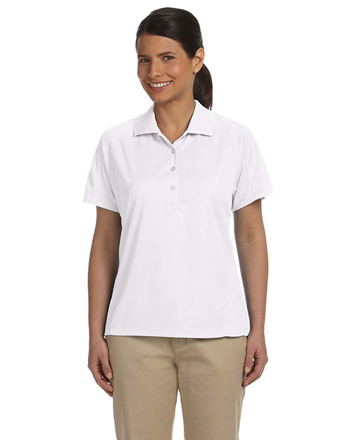 Harriton M374W Ladies' 3.8 oz. Polytech Mesh Insert Polo WHITE at bigntallapparel