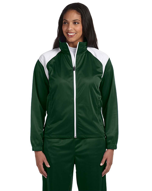 Harriton M390W Ladies' Tricot Track Jacket DARK GREEN/WHITE at bigntallapparel