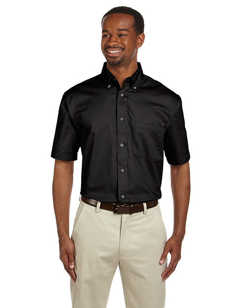 Harriton M500S Mens Short Sleeve Twill Shirt with Stain-Release Black at bigntallapparel