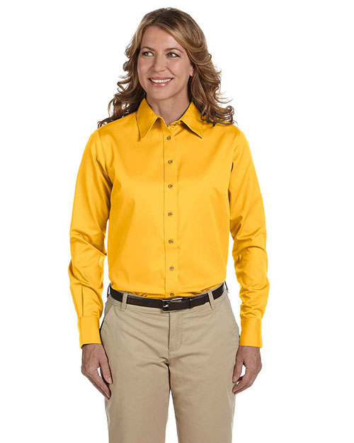 Harriton M500W Ladies' Long-Sleeve Twill Shirt with Stain-Release SUNRAY YELLOW at bigntallapparel