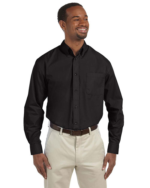 Harriton M510T Men's Tall 3.1 oz. Essential Poplin BLACK at bigntallapparel