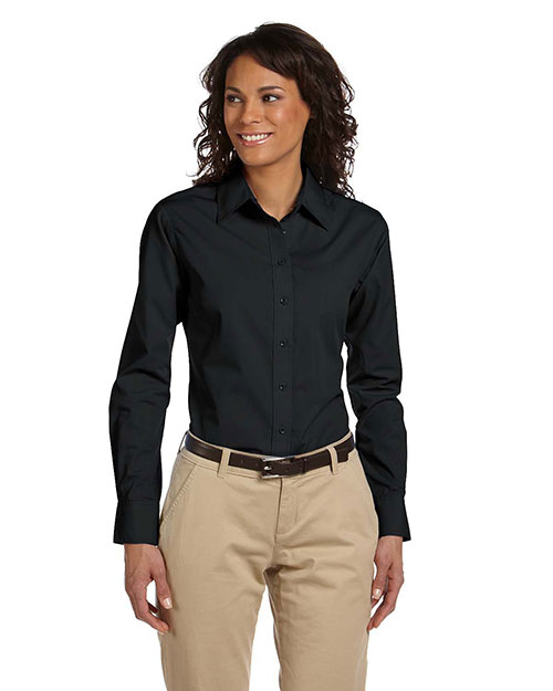 Harriton M510W Ladies' 3.1 oz. Essential Poplin BLACK at bigntallapparel