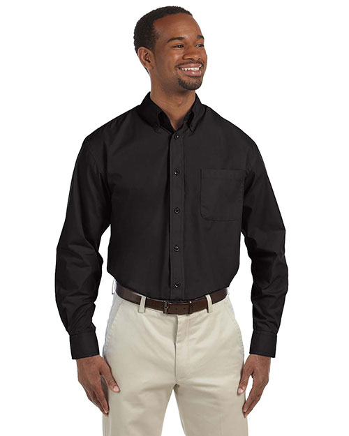 Harriton M510 Men's 3.1 oz. Essential Poplin BLACK at bigntallapparel