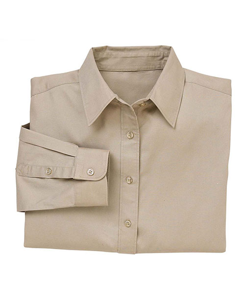 Harriton M520W Ladies' 4.5 oz. Long-Sleeve Millennium Twill Shirt KHAKI at bigntallapparel