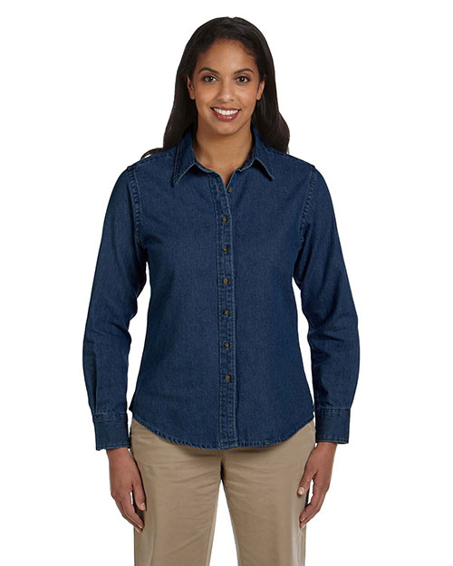 Harriton M550W Ladies' 6.5 oz. Long-Sleeve Denim Shirt DARK DENIM at bigntallapparel