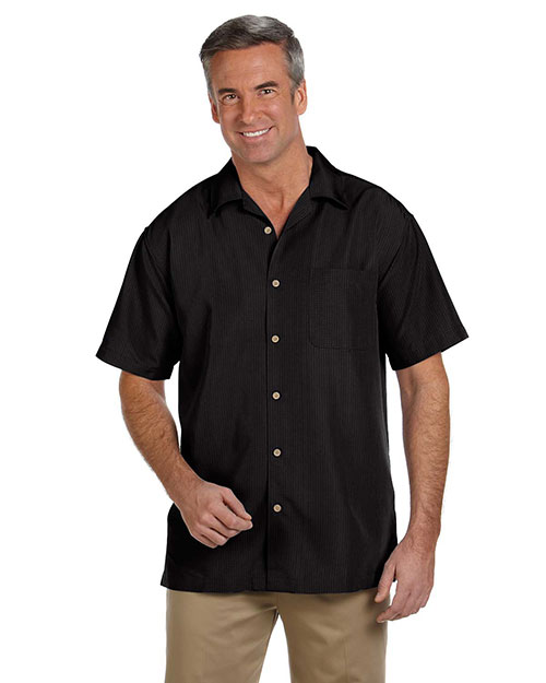 Harriton M560 Mens Barbados Textured Camp Shirt Black at bigntallapparel