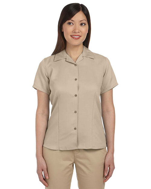 Harriton M570W Women Bahama Cord Camp Shirt Sand at bigntallapparel