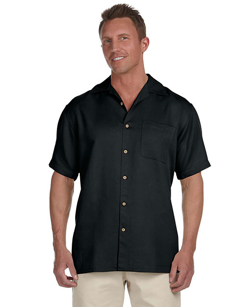 Harriton M570 Mens Bahama Cord Camp Shirt Black at bigntallapparel