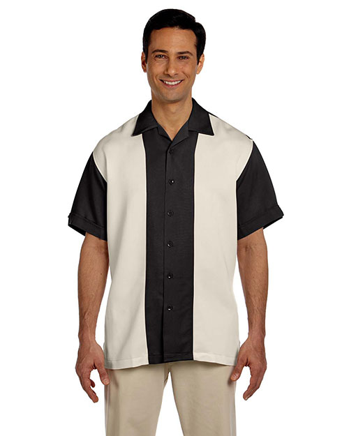 Harriton M575 Men Two Tone Bahama Cord Camp Shirt Black/Creme at bigntallapparel
