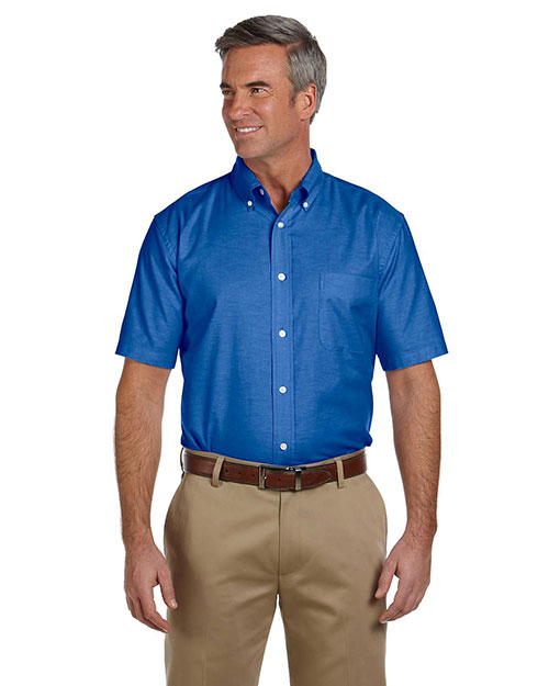 Harriton M600S Mens Short Sleeve Oxford with Stain-Release French Blue at bigntallapparel