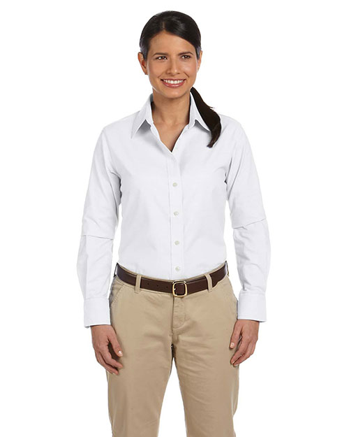 Harriton M600W Women Long-Sleeve Oxford With Stain-Release White at bigntallapparel