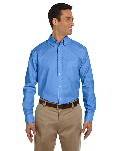 Harriton M600 Mens Long Sleeve Oxford with Stain-Release French Blue at bigntallapparel