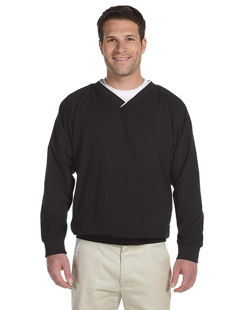 Harriton M700 Mens Microfiber Windshirt Black/White at bigntallapparel
