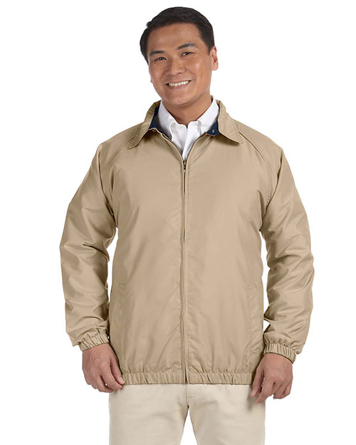 Harriton M710 Microfiber Club Jacket STONE/NAVY at bigntallapparel