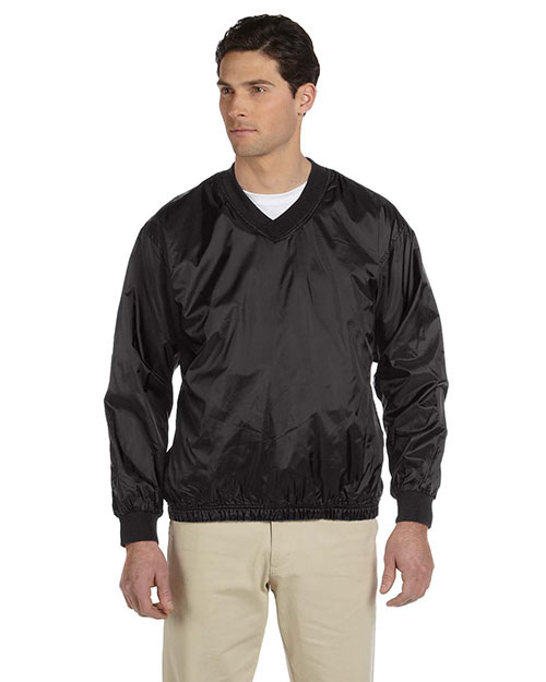 Harriton M720 Mens Athletic V Neck Pullover Jacket Black at bigntallapparel