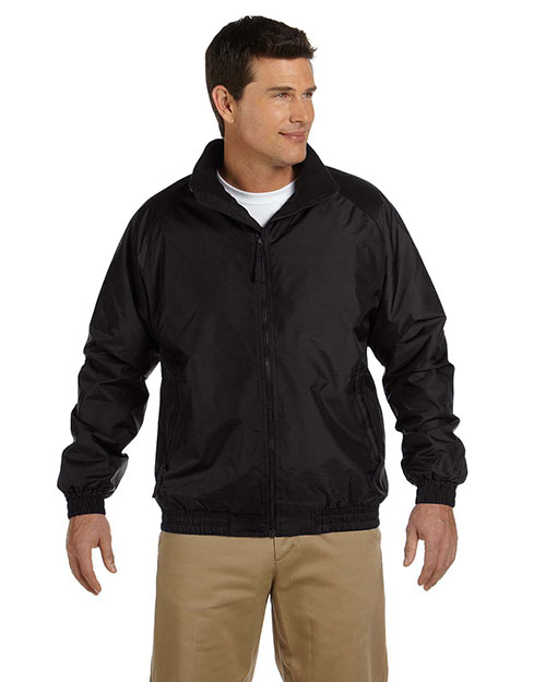 Harriton M740 Mens Fleece Lined Nylon Jacket Black/Black at bigntallapparel