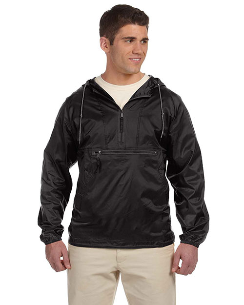 Harriton M750 Mens Packable Nylon Jacket Black at bigntallapparel